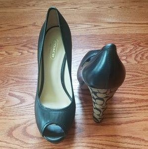 New Coach black leather peep toe C heels size 7